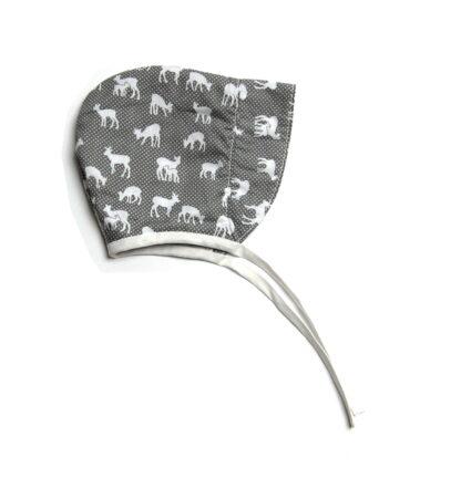 bonnet hoedje grijs met hertjes