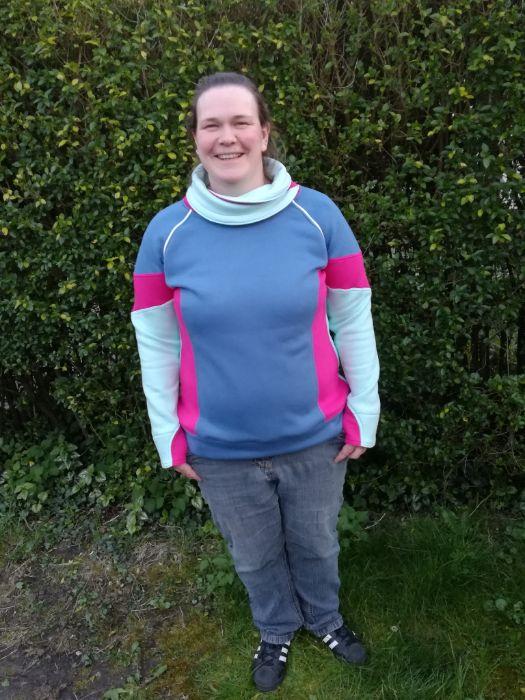 Colorblocking sweater voor